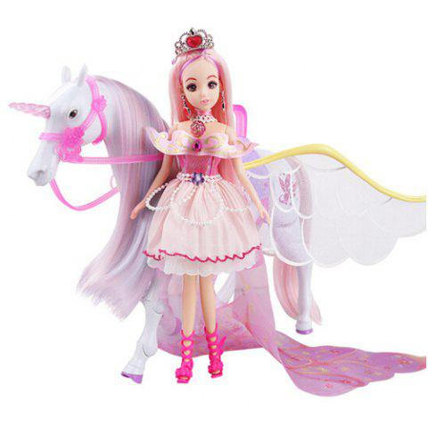 Princess Horse Doll with Light Gift Pretend Play Toy for Children - PINK