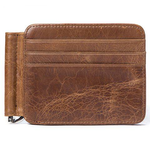 MVA 7607 Leather Card Holder Card Set Multi-function Men's Leather Retro Wallet - COFFEE