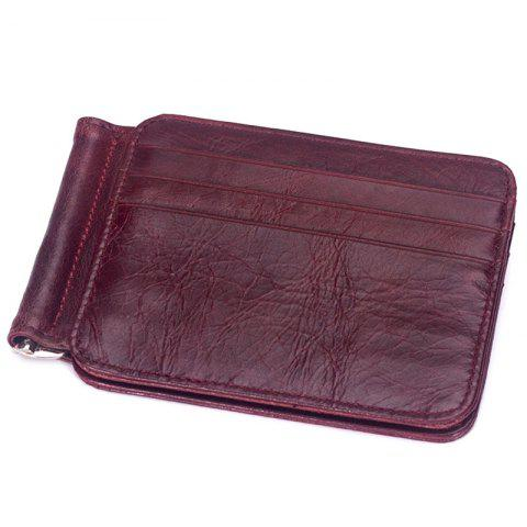 MVA 7607 Leather Card Holder Card Set Multi-function Men's Leather Retro Wallet - RED WINE