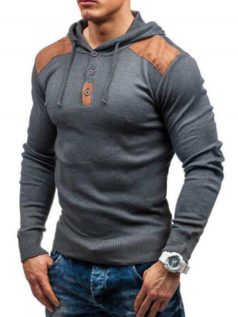 Men's solid color hooded pullover sweater double shoulder suede stitching - LIGHT GRAY M