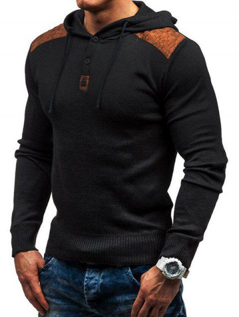 Men's solid color hooded pullover sweater double shoulder suede stitching - BLACK L
