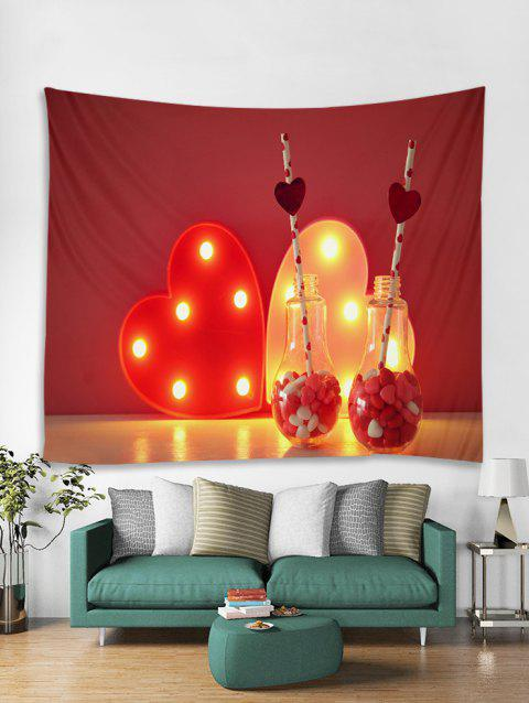 Heart Light Pattern Tapestry Art Decoration - VALENTINE RED W79 X L71 INCH