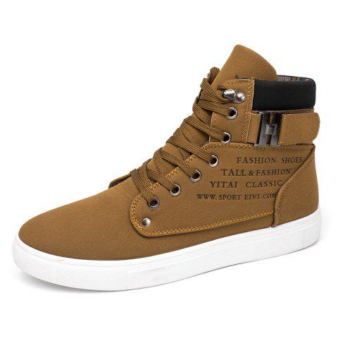 SYXZ 0164 High-top Casual Shoes Lace-up Boots - CAMEL BROWN EU 45