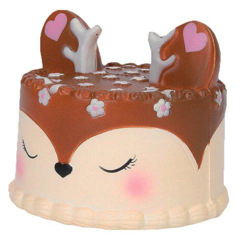 Christmas Unicorn Deer PU Slow Rebound Small Cake Model - BROWN
