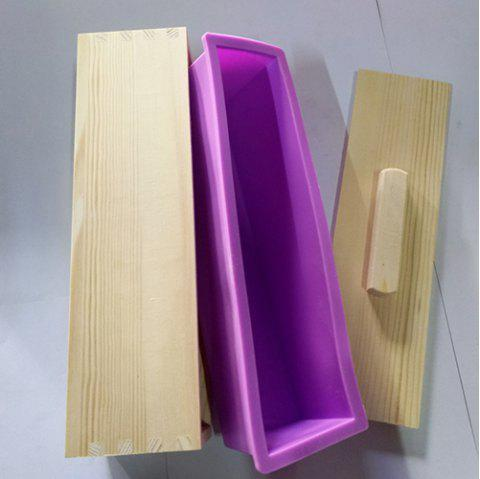 Handmade Soap Silicone Toast Mold With Solid Wood Box Purple 1pc