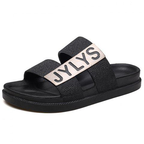 Simple Summer Beach Slippers - BLACK EU 44