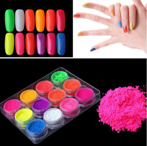 12 Color Fluorescent Series Laser Phototherapy Nail Polish Powder - multicolor A