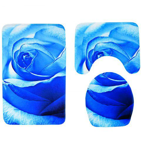 Simple Rose Print Toilet Mat 3pcs - OCEAN BLUE