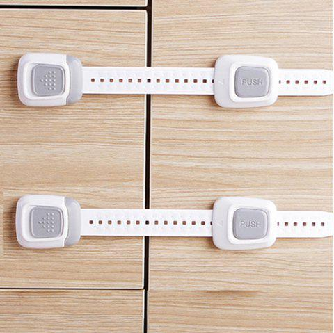 Multi-function Double Button Anti-clip Safety Lock for Cabinet Door Refrigerator Toilet - LIGHT GRAY