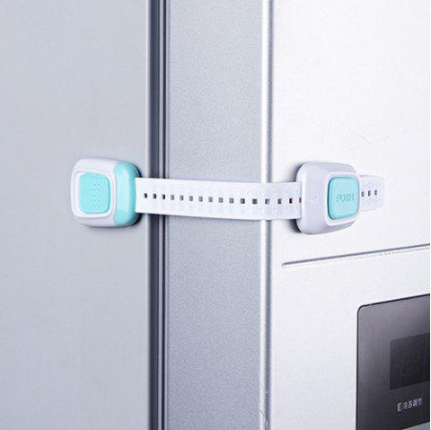 Multi-function Double Button Anti-clip Safety Lock for Cabinet Door Refrigerator Toilet - LIGHT AQUAMARINE