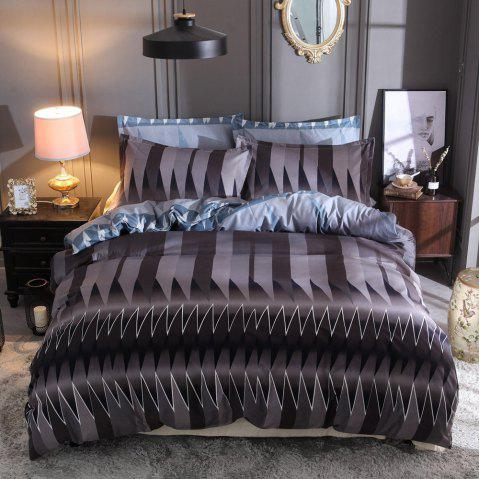 228 x 228cm Abstract Strips Pattern Bedding Set - multicolor A