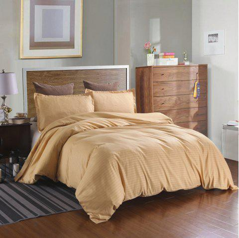 Satin Strip Solid Color Literie Home Textile Quilt Cover taie d'oreiller 2pcs - Or