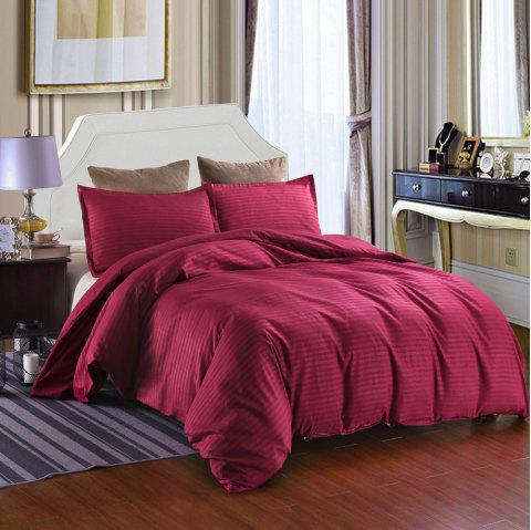 Bedding Set Satin Strip Solid Color Quilt Cover Pillowcase 3pcs - RED WINE