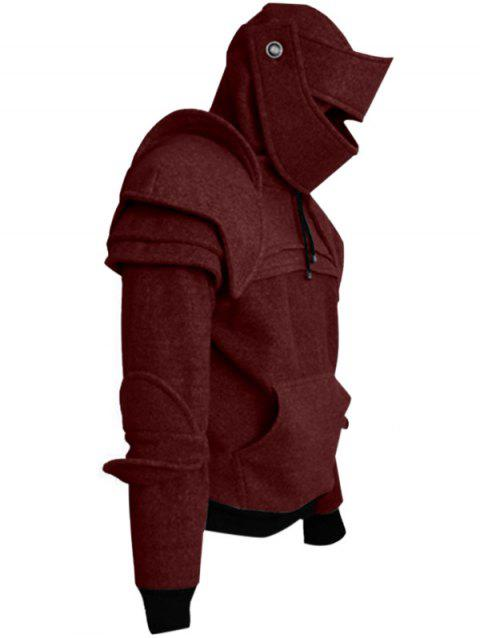 Solid Color Men's Retro Drawstring Knight Sweater - RED WINE M