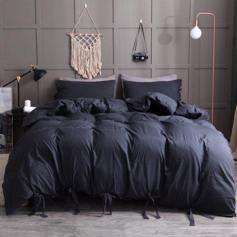 Washable Cotton Solid Color Soft Comfortable Bedding Set 2pcs - BLACK