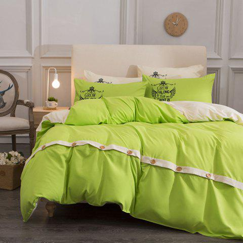 Double-color Simple Solid Color Skin-friendly Cotton Four-piece Bedding Set for 1.5m Bed - YELLOW GREEN