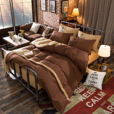 Double-color Simple Solid Color Skin-friendly Cotton Four-piece Bedding Set for 1.5m Bed - COFFEE