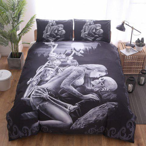 Home Textile Kit 3D Ghost Head Fortress Night Bedding Set 2pcs - multicolor A