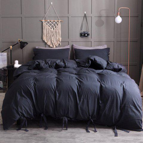 Washable Cotton Solid Color Soft Comfortable Bedding Set 3pcs - BLACK