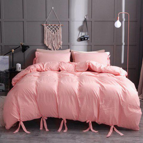 Washable Cotton Solid Color Soft Comfortable Bedding Set 3pcs - PINK