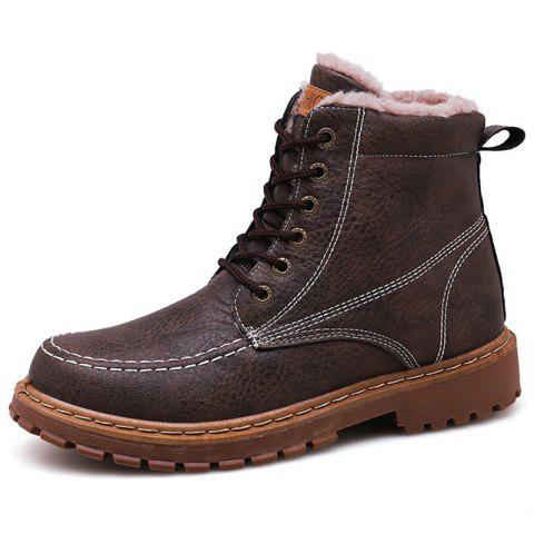 Men's Boots Outdoor High-top Leather - DEEP BROWN EU 43