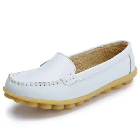 Women's Peas Shoes Leather Flat Bottom Large Size - WHITE EU 35