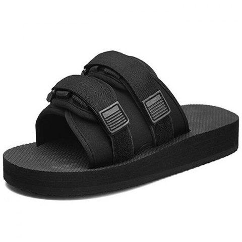 XMST - 7207 One-slip Slippers For Men And Women Tide Beach Sandals - BLACK EU (35-36)