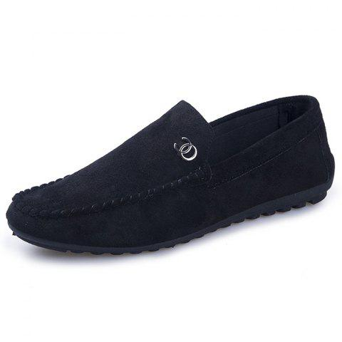 Men's Wild One-legged Lazy Social Tide Flat Shoes - BLACK EU 43