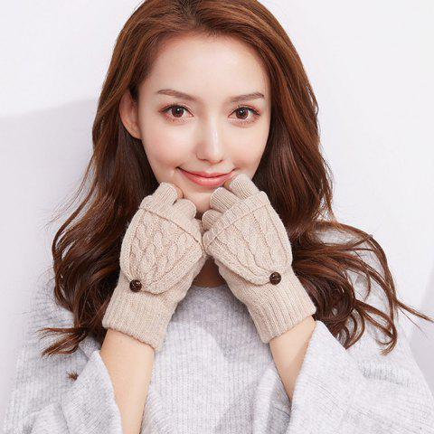 Autumn and Winter Outdoor Flip Half - finger Wool Knitted Ladies Gloves - CRYSTAL CREAM