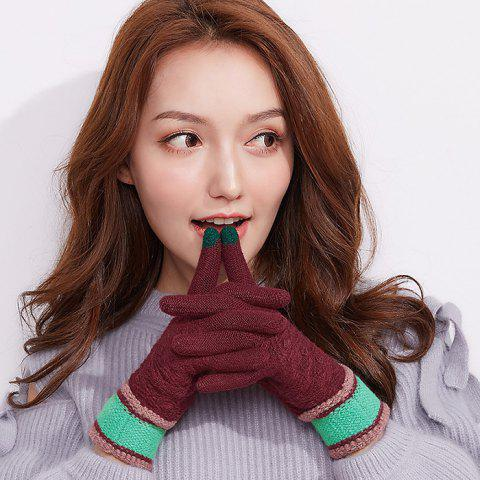 Winter Outdoor Touch Screen Ladies Knitting Gloves - RED WINE