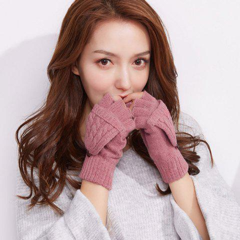 Autumn and Winter Outdoor Flip Half - finger Wool Knitted Ladies Gloves - WATERMELON PINK