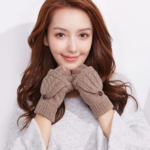 Autumn and Winter Outdoor Flip Half - finger Wool Knitted Ladies Gloves - KHAKI