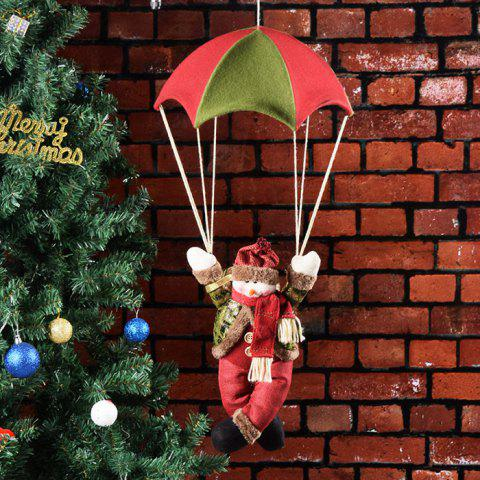 Christmas Tree Pendant Old Man Snowman Parachute Doll Crafts Ornaments Holiday Decoration - RED