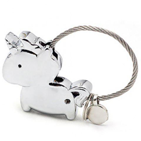 Couple Keychain Magnet Unicorn Creative Metal Cute Gift - SILVER