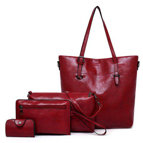 Lixiang867 Fashion Trend Solid Color Crossbody Bag 4pcs - RED WINE