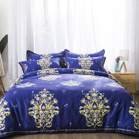 European Cecilia Cotton Quilt Cover Pillowcase Bed Sheet 4pcs - multicolor A