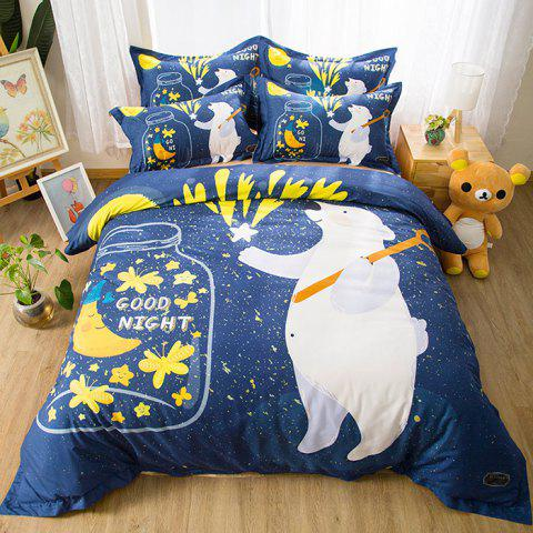 Cartoon Puppy Children Boys Girls Quilted Cotton Bedding 1.8m 4PCS - multicolor C