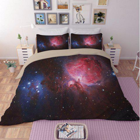 Home Textile Nebula Star Pattern Quilt Cover Pillowcase Bed Sheet 3pcs - multicolor A