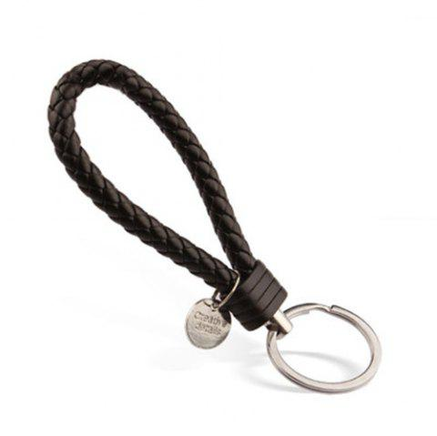 Woven Leather Rope Keychain Creative Hand-made Gift - BLACK B22