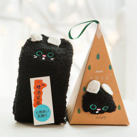Embroidered Three-dimensional Home Cartoon Adult Fuzzy Socks - multicolor A BLACK CAT