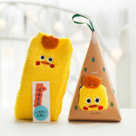 Embroidered Three-dimensional Home Cartoon Adult Fuzzy Socks - multicolor A CHICK