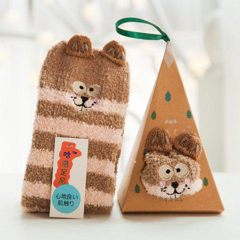 Embroidered Three-dimensional Home Cartoon Adult Fuzzy Socks - multicolor A MOUSE