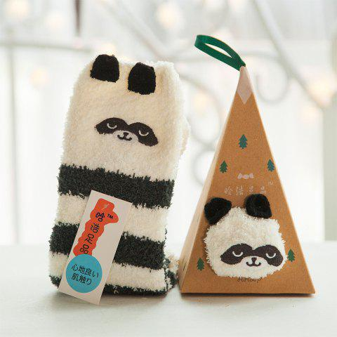 Embroidered Three-dimensional Home Cartoon Adult Fuzzy Socks - multicolor A PANDA