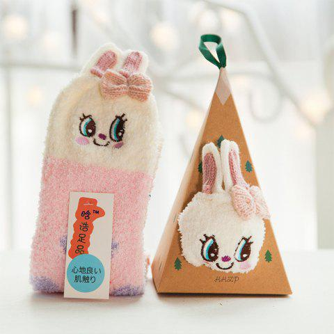Embroidered Three-dimensional Home Cartoon Adult Fuzzy Socks - multicolor A RABBIT