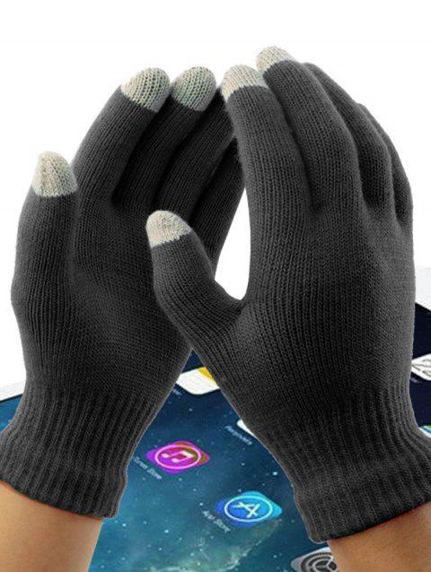 Acrylic Fiber Washable Conductive Material Winter Wool Touch Screen Gloves - multicolor B