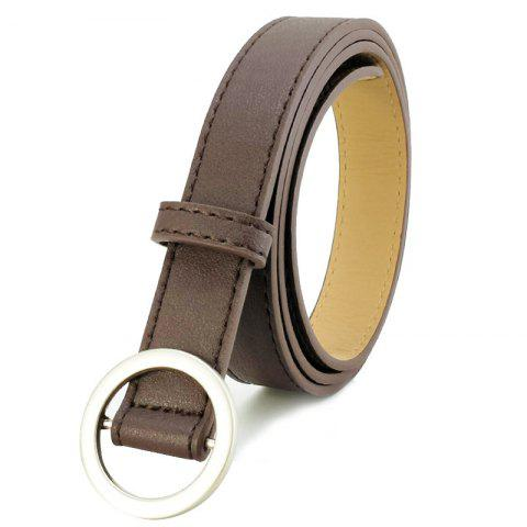 Non-porous Round Buckle Ladies Simple Wild Retro Pants Belt - COFFEE