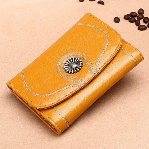 SENDEFN 5179 Retro Small Coin Purse Short Section Leather Tri-fold Wallet for Women - GOLDENROD