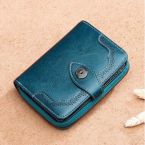SENDEFN Women Zipper Leather Short Wallet - PEACOCK BLUE