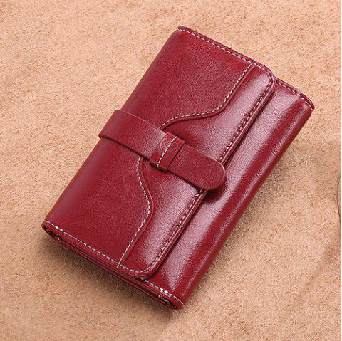 SENDEFN Women Short Wallet Mini Leather Small Coin Purse - RED WINE