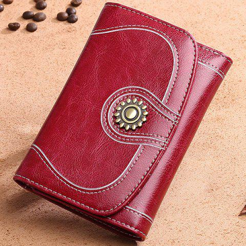 SENDEFN5 128 Ladies Leather Short Wallet Women's Retro Small Coin Purse - RED WINE